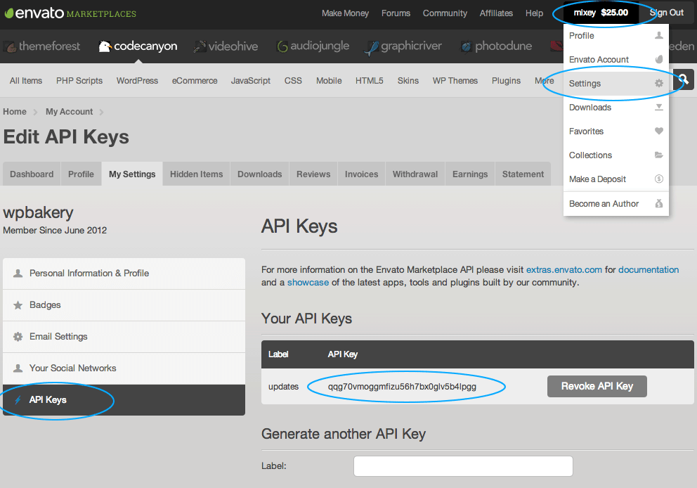 Error! Envato API error: Username and/or API Key invalid  - Ultimate