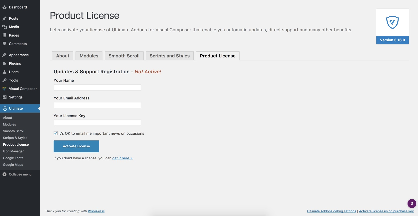 How to activate your license key of the Ultimate Addons for WPBakery